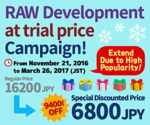 RAW development at trial price campaign!