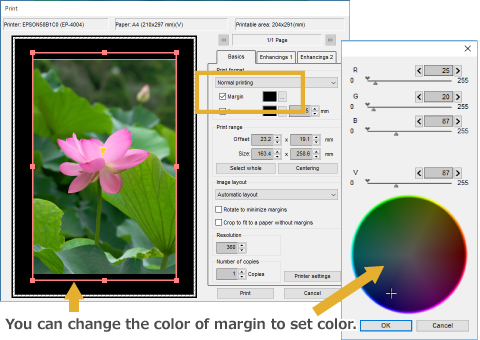 You can change the color of margin to set color.