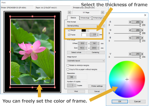 Select the thickness of frame. You can freely set the color of frame.