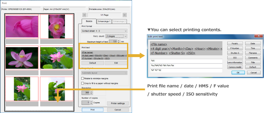 You can select printing contents. Print file name / date / time / F value / shutter speed / ISO sensitivity.