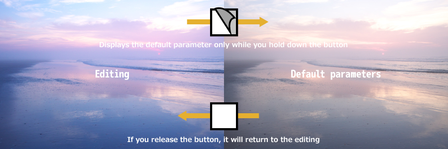 Displays the default parameter only while you hold down the button. If you release the button, it will return to the editing.
