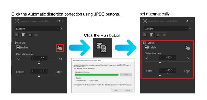 What is Automatic distortion correction using JPEG? 4