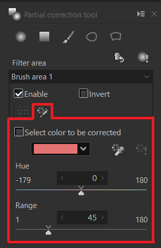 Select color to be corrected 1ctrl