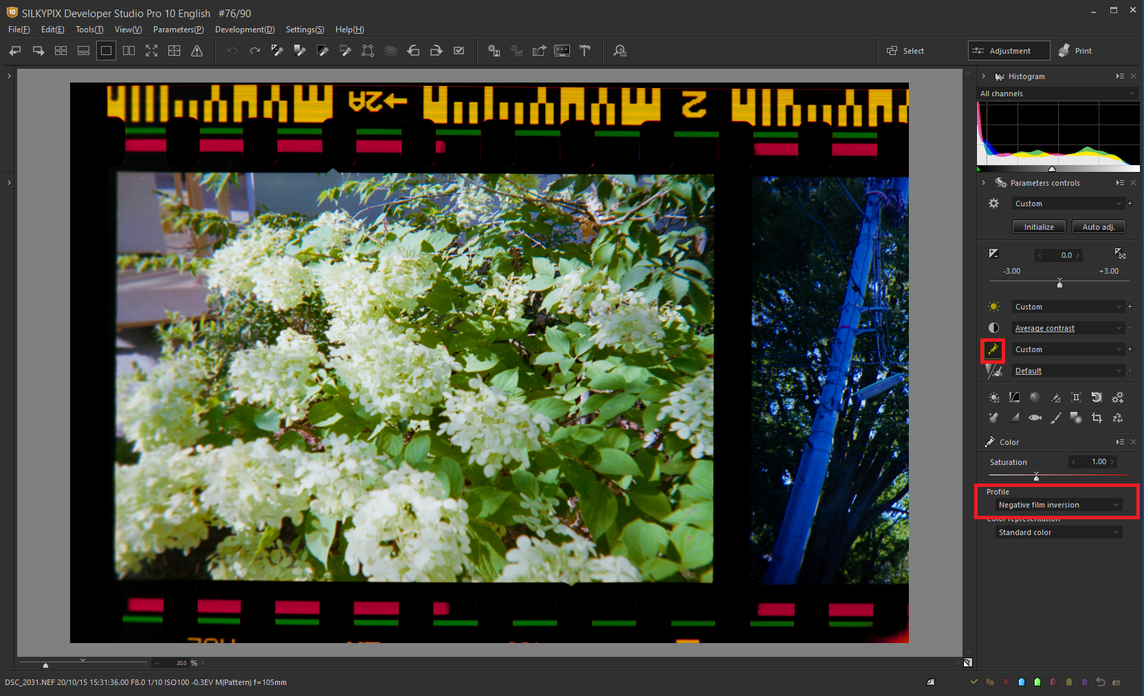 the Negative film inversion tool 1-3