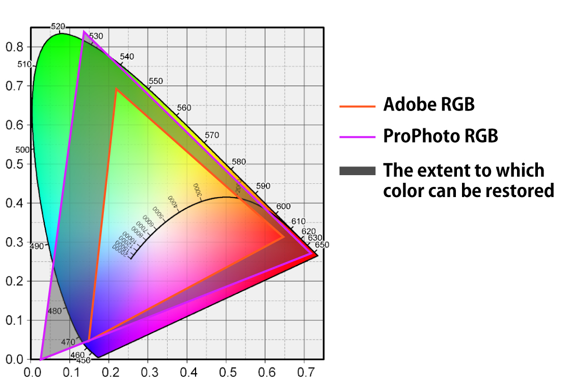 Wide Gamut Color Space as Internal Data for Work