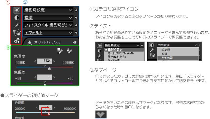 SILKYPIX Developer Studio SEのコントロール