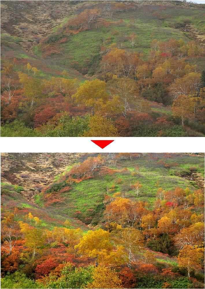 紅葉の大雪山を綺麗に仕上げる