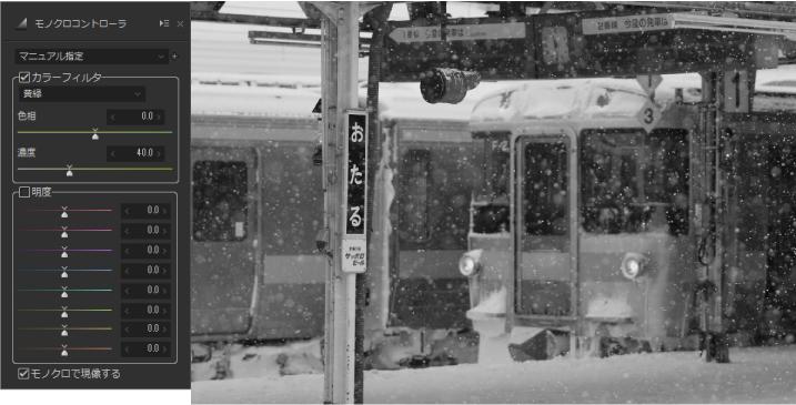 函館本線冬景色 モノクロ
