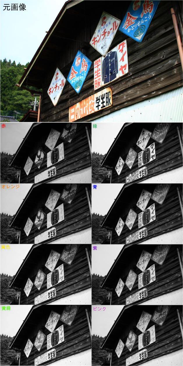モノクロ写真においてカラーフィルタの使用例