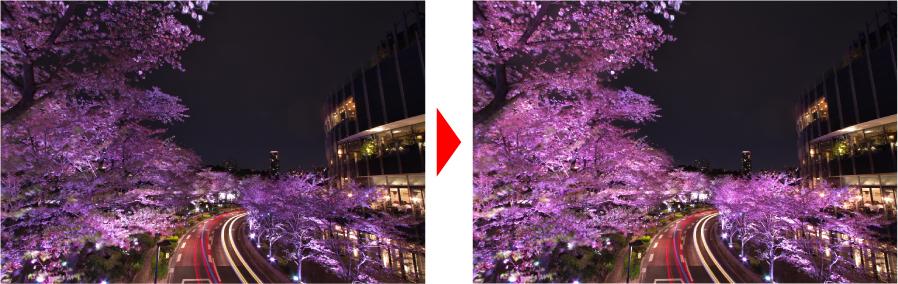 ホワイトバランスを調整した画像からどのように変化したかの比較