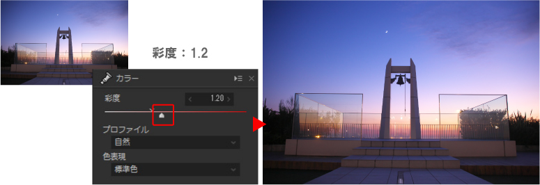 彩度の調整で夕焼けの画像をさらに美しく