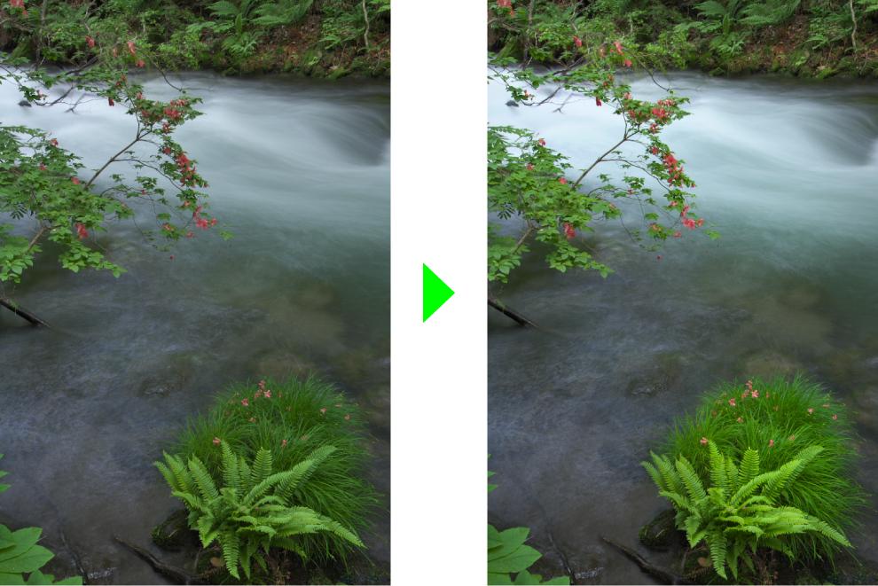 奥入瀬の新緑を綺麗な緑に