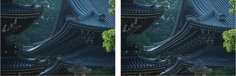 神社の瓦を明瞭度で強調