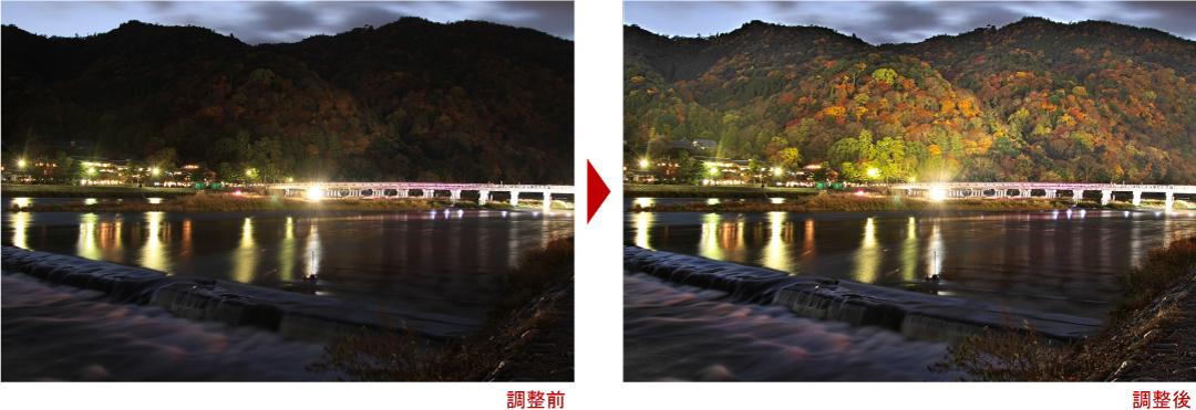 紅葉渡月橋ライトアップ調整