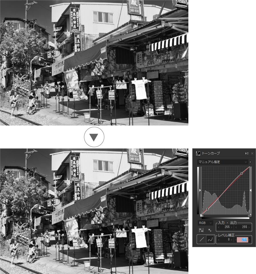 赤外線写真 トーンカーブ