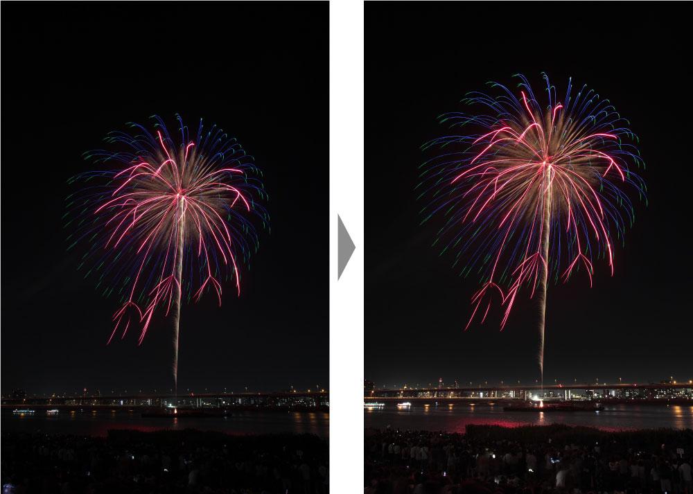 花火のRAW現像調整例1