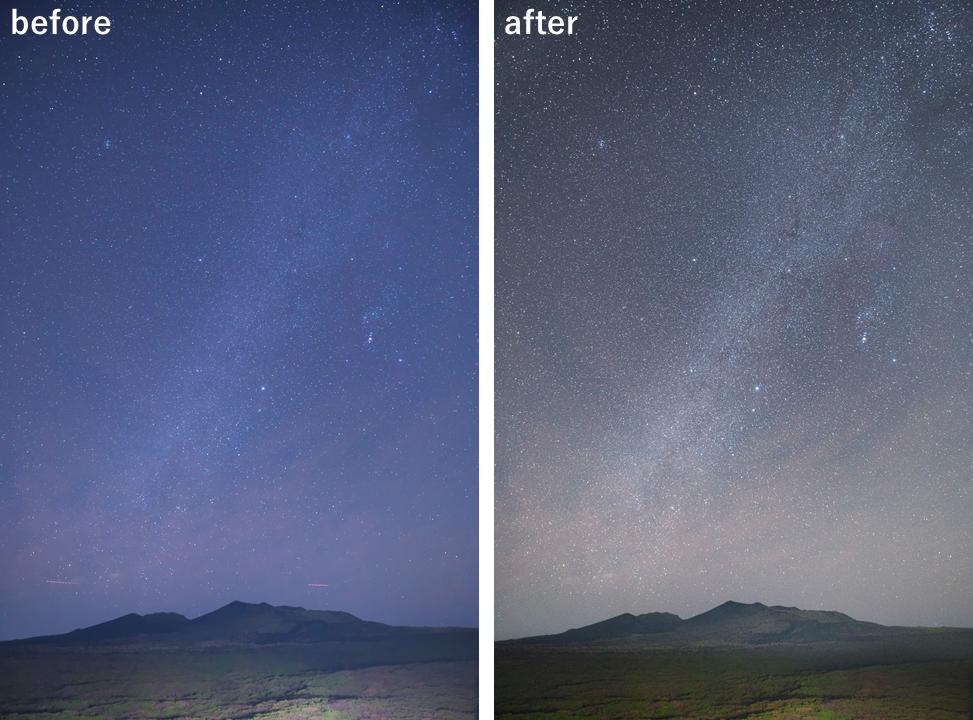 天の川 星景写真 画像調整